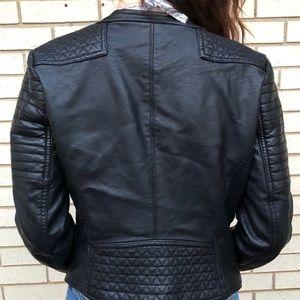 Black vinyl leather biker jacket